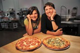 CHRIS DUFFEY - Renee Thomas Jacobs and Caroline Thomas Jacobs with their pepperoni and Scarborough Fare pizzas.