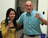 Roger Letson coaches student Sofia Ruiz.