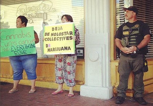 San Diego resident protest medical marijuana store raid last week.