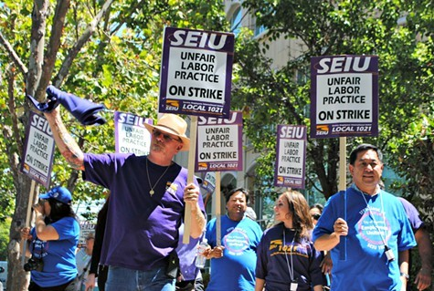 SEIU workers launched a three-strike this morning.