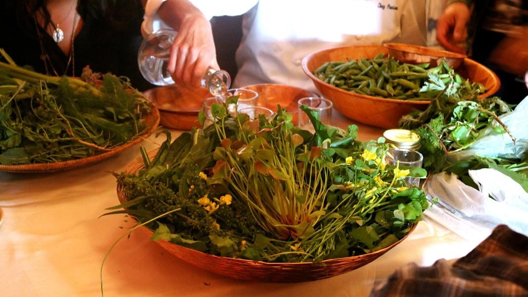 Edible weed tasting at Chez Panisse. - KRISTEN RASMUSSEN