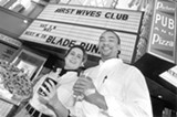 CHRIS DUFFEY - Speakeasy Theaters owners Catherine and Kyle Fischer outside the newly reopened Parkway in 1997.