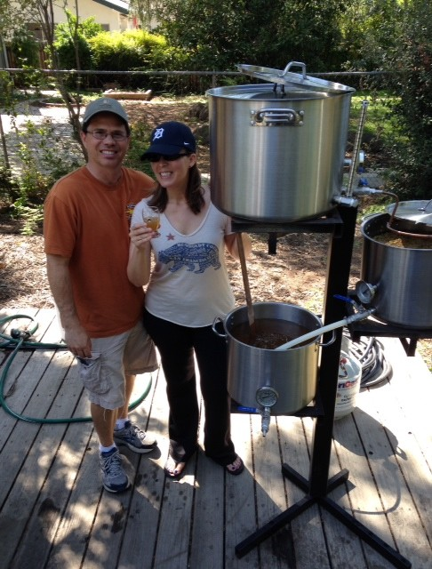 Steve Trapani and Rena Urso-Trapani make some beer.