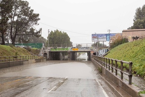 Stormageddon flooded the underpass on Ashby Avenue, causing three cars to get trapped in the water. - BERT JOHNSON