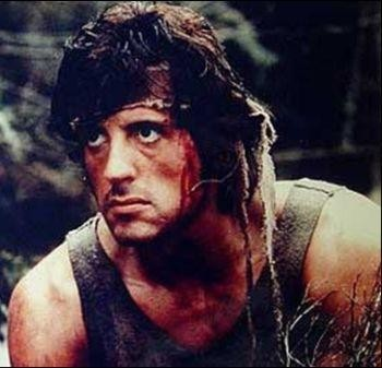 Sylvester Stallone as John Rambo in Rambo.