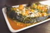 The chiles rellenos were served with roasted squash, sautéed mushrooms, and melted cheeses.