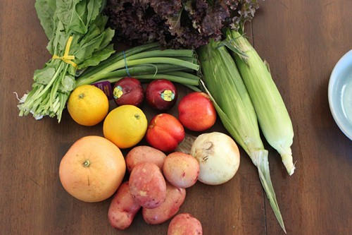 The contents of a small box of organic produce.