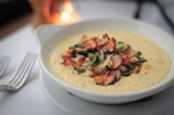 CHRIS DUFFEY - The crab and grits is a luscious platter of ultra-creamy maize snarked up with garlic and spicy crab.