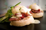 CHRIS DUFFEY - The eggs benedict on house-made English muffin is Barkada's crowning glory.