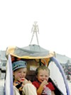 The kids stay hydrated at 2007 Burning Man.