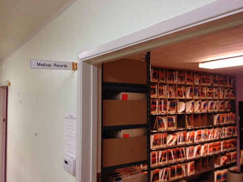 """The """"medical records"""" room as of yesterday late afternoon. - SAM LEVIN"""