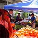 The monthly farmers' market at Fruitvale Village.