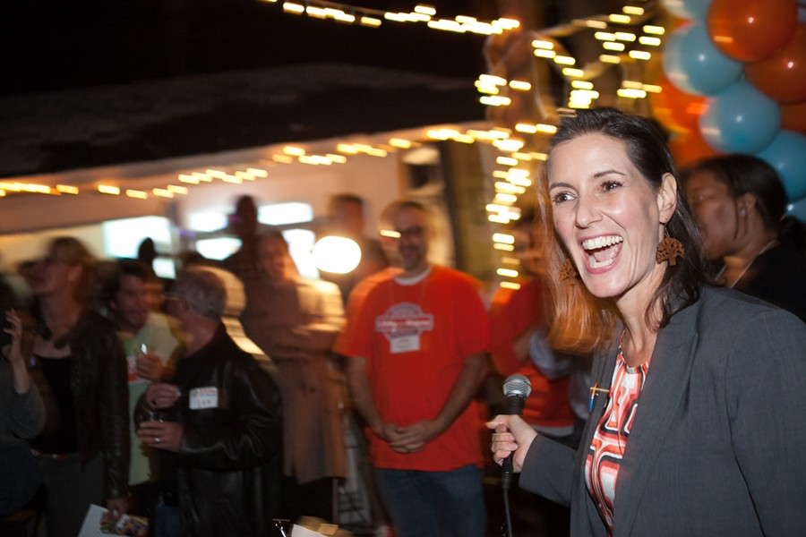 The mood at Libby Schaaf's election night party was jubilant as her early lead in the polls grew stronger throughout the night. - BERT JOHNSON