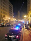 The police cordon off Broadway as they work the crowd down to the Paramount, were mass arrests were made.