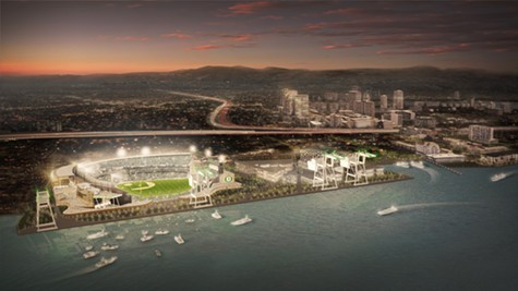 The proposed ballpark at Howard Terminal.
