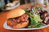 CHRIS DUFFEY - The pulled pork sandwich is sweet and smoky goodness.