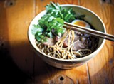 LORI EANES - The Ramen Shop makes its noodles and broth from scratch, and spends about $500 a day on pork alone.