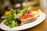 CHRIS DUFFEY - The salmon tartine featured thin strips of smoked salmon on toasted Semifreddi's levain.