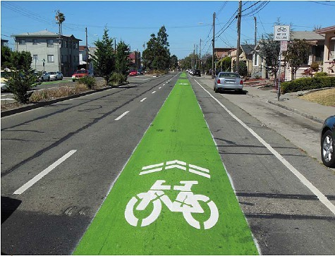 The sharrow on 40th Street in Oakland.