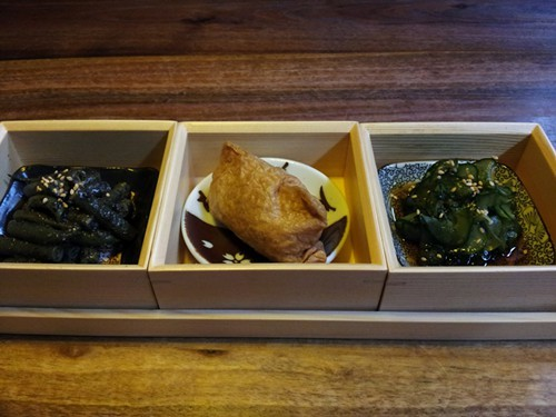 The three-item bento varies from day to day.