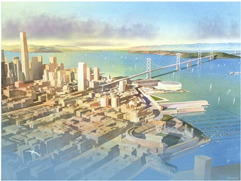 The Warriors want to build a new arena on San Franciscos waterfront near a proposed condo project that city voters overwhelmingly rejected.