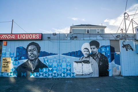 The mural taking shape at the corner of 14th and Peralta streets. - PHOTO BY DAVID BACON