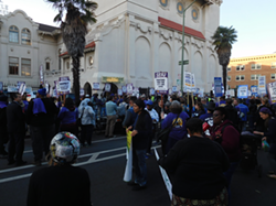 Several hundred union members blocked the street and picketed the mayor's speech at the Islamic Cultural Center of Northern California.