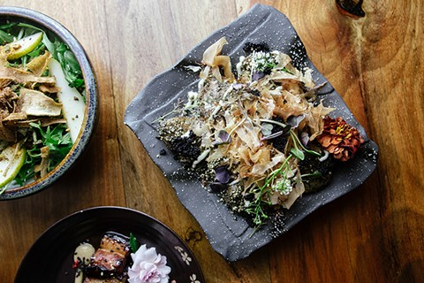 Shinmai's whimsical take on potato salad features bonito flakes and caviar. - PHOTO BY MELATI CITRAWIREJA