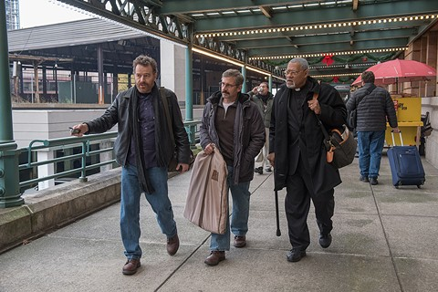 Bryan Cranston, Steve Carell, and Laurence Fishburne hit the road in Last Flag Flying. - PHOTO BY WILSON WEBB
