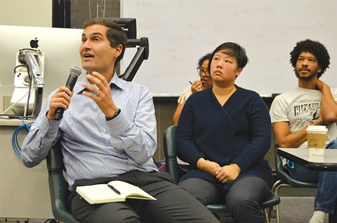 A's President Dave Kaval (left) spent last week at faculty forums. - PHOTO BY MATT ST. JOHN