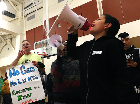Students and teachers protested cuts at last night's Oakland school board meeting. - DARWIN BONDGRAHAM