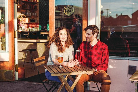 Hillary Rose Huffard and Luke Janson outside their brewery, Roses' Taproom. - PHOTO BY KALA MINKO