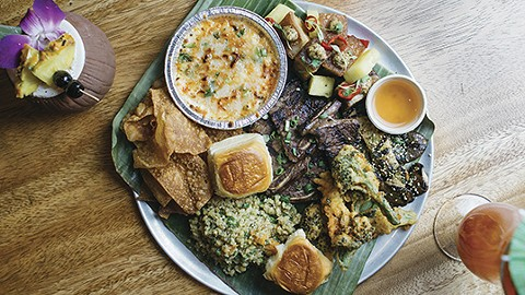 The pupu platter features a rotating selection of dishes, such as crab rangoon drip and grilled short ribs. - PHOTO BY MELATI CITRAWIREJA