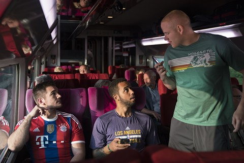 Alek Skarlatos, Anthony Sadler, and Spencer Stone (left to right) have no idea what awaits them in The 15:17 To Paris.