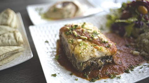 The moussaka is a family recipe, featuring lamb and eggplant. - PHOTO BY RICHARD LOMIBAO