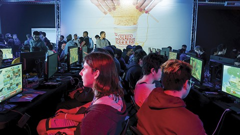 Gamers at the new Esports Arena competed at an event on Apr. 7 sponsored by Cup of Noodles. - PHOTO COURTESY OF ESPORTS ARENA