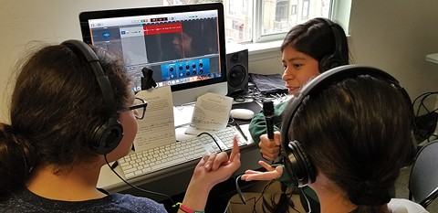 Girls practice the art of podcasting in Oakland. - PHOTO COURTESY OF WOMEN'S AUDIO MISSION