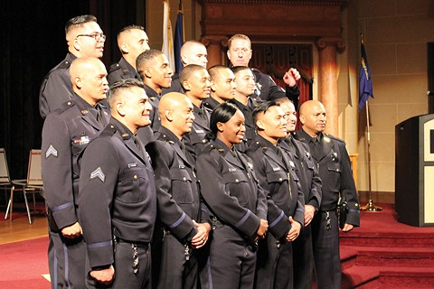 Oakland Police Department's 177th police academy graduates last December. - PHOTO BY SHAUNA MCQUEEN