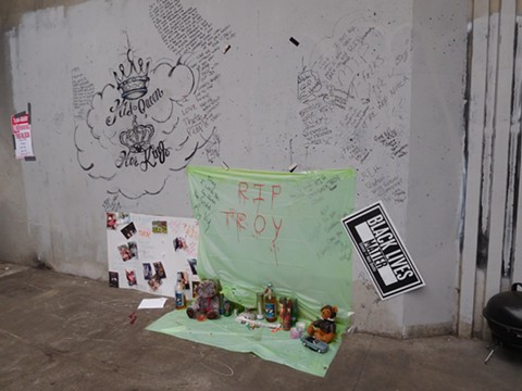 A memorial in the Northgate camp.