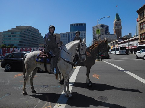 The resurrection of Oakland's mounted horse unit is a priority of Chief Anne Kirkpatrick. - PHOTO BY DARWIN BONDGRAHAM
