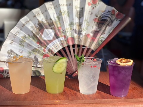 Hendrick's cocktails, from left to right: ruby radler, sun god, bespoke G&T, and butterfly effect. - PHOTO BY MAYRA ALFARO MARTINEZ
