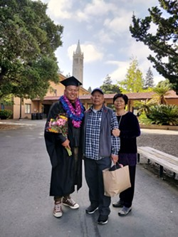 Bo Chung and his parents at graduation. - COURTESY OF BO CHUNG