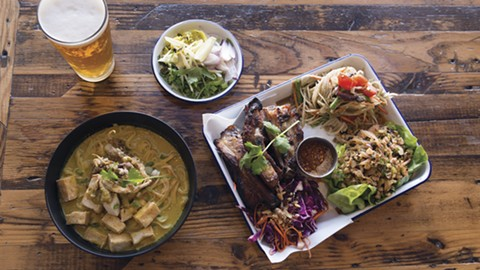 Personal party platters (right) let you try three dishes for $20, but the kao soi also tempts. - PHOTO BY LANCE YAMAMOTO