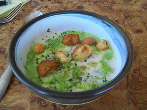 The clam chowder is enlivened with parsley oil. - PHOTO BY JANIS HASHE