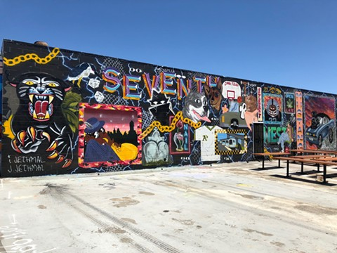 Murals wrap around the building, including this piece by brothers Jared and Ian Jethmal. - PHOTO COURTESY OF 7TH WEST