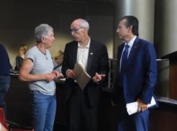 Dan Kalb and Noel Gallo speak with landlord Linda Montauk about her concerns.