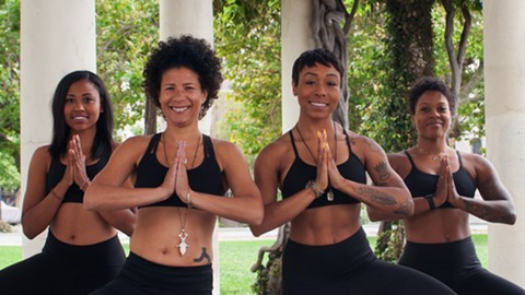 Kirsten Rogers, Maureen Miller, Shakira Scott, and Zenovia Forbes want to change the image of yoga. - PHOTO BY DREW COSTLEY