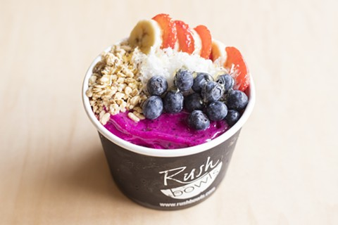Topping options include fresh fruit and organic granola. - PHOTO COURTESY OF RUSH BOWLS