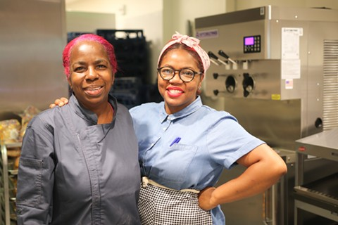 Mother-daughter pair Bernadine Sewell and Sicily Sewell-Johnson run Pinky & Red's, serving soul food-inspired sandwiches. - PHOTO BY KALELIA WILSON COURTESY OF LA COCINA