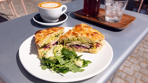 The Levantine sandwich comes with a thick layer of schoog. - PHOTO BY LANCE YAMAMOTO